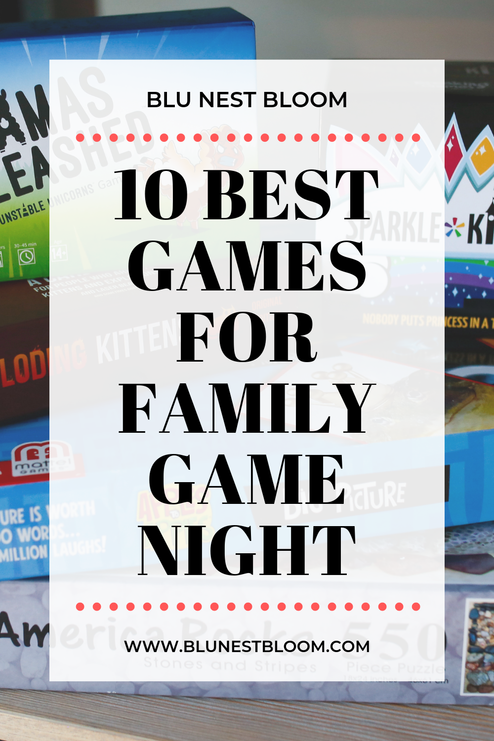 stack of board games for family game night